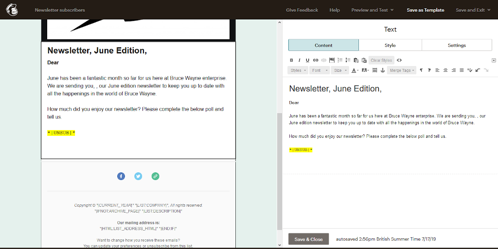 The email merge tag has been added and is highlighted as shown.