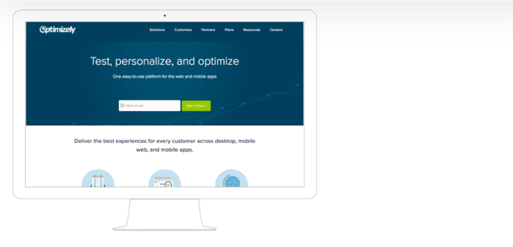 The original homepage for the company Optimizely.