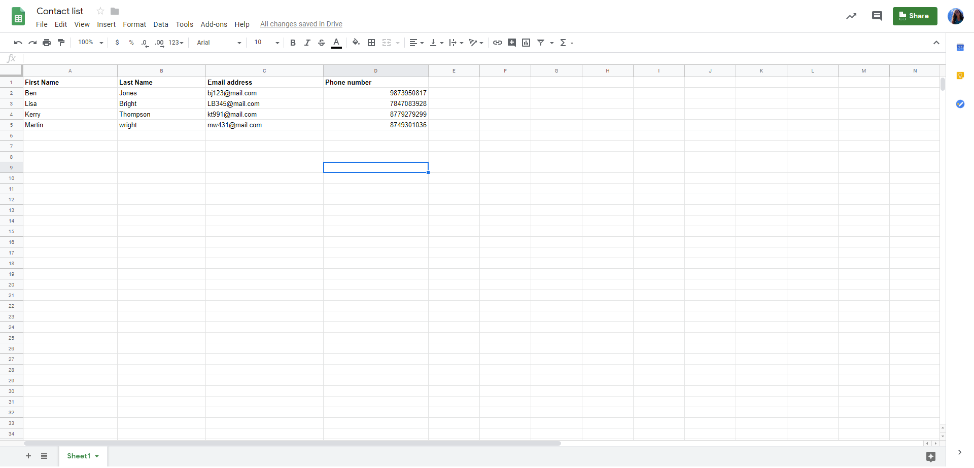 Creat a google spreadsheet for your list of contacts.
