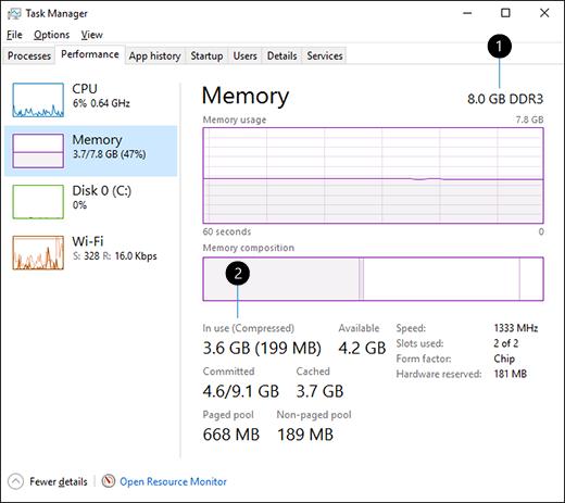 1. Total amount of memory (RAM) 2. Memory in use
