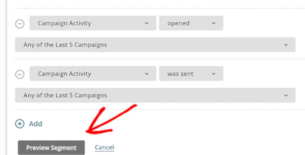 You can preview your segment in MailChimp.