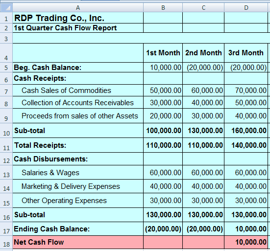 Calculate net cash flow