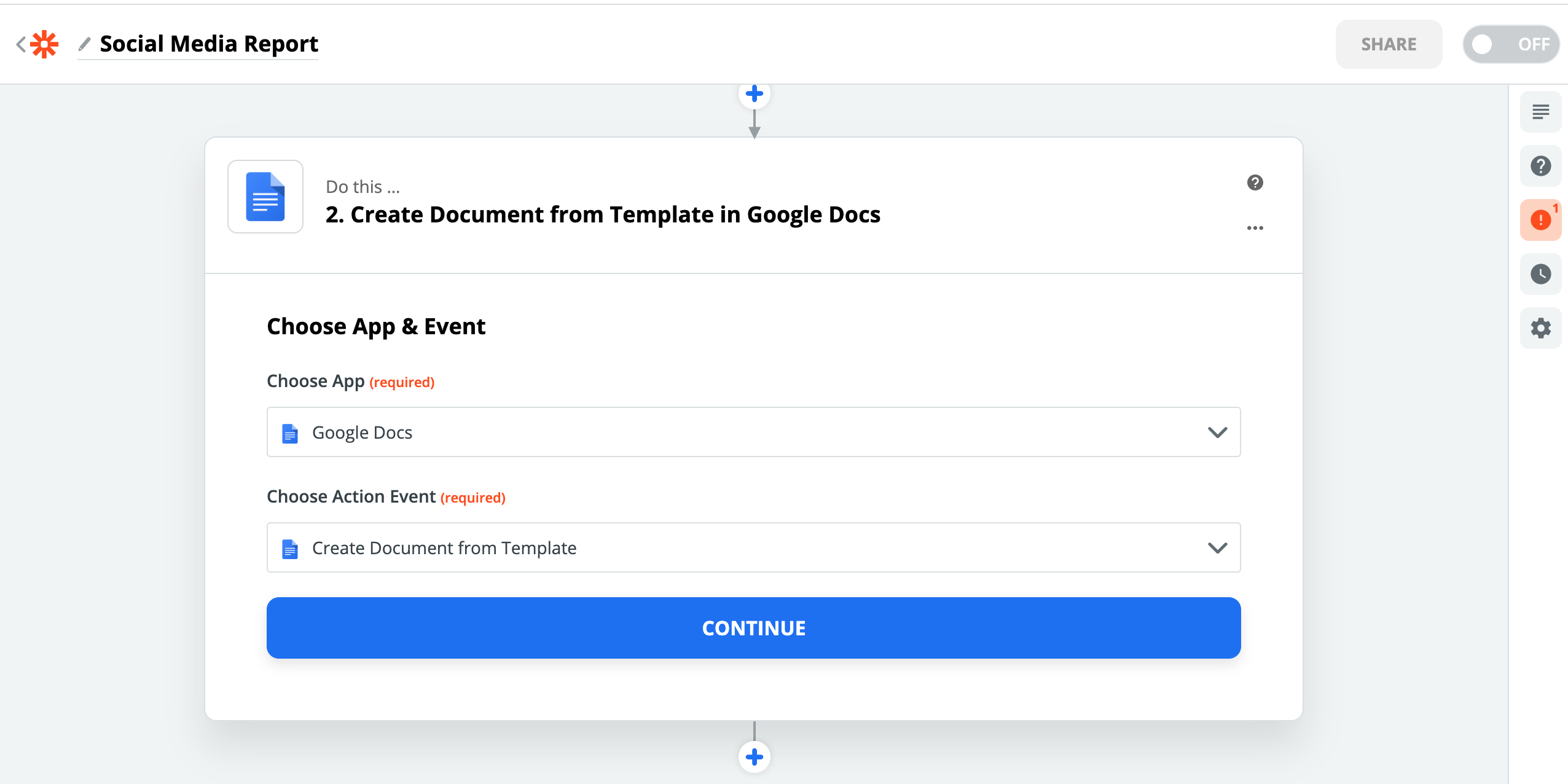 Select 'Google Docs' as the action app and 'Create a Document from Template'  as the action step. This will create a google document from the Social Media Report Template.