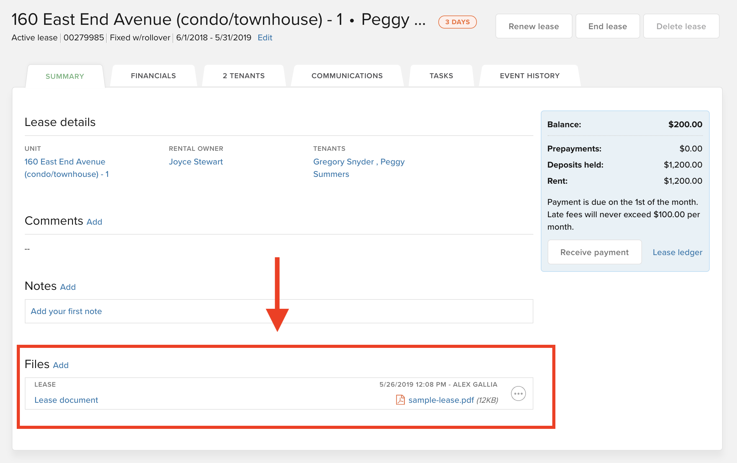 Upload lease to the property page in Buildium