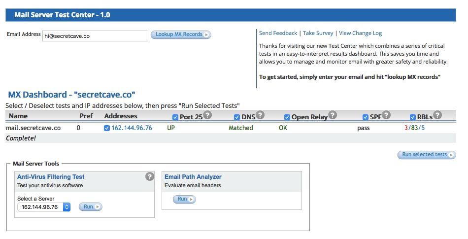 DNSstuff's Mail Server Test Center