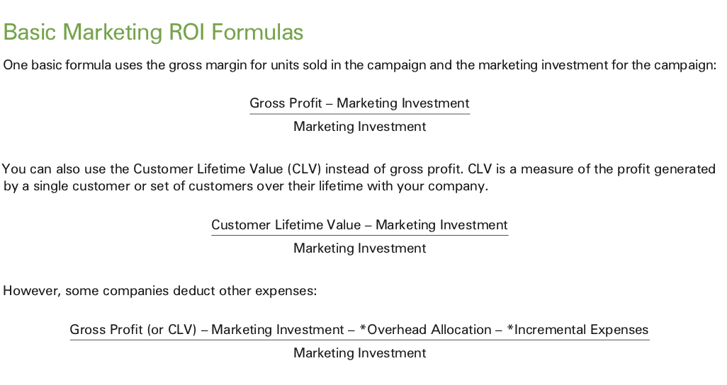 Quarterly Strategic Marketing Process: ROI calculation.