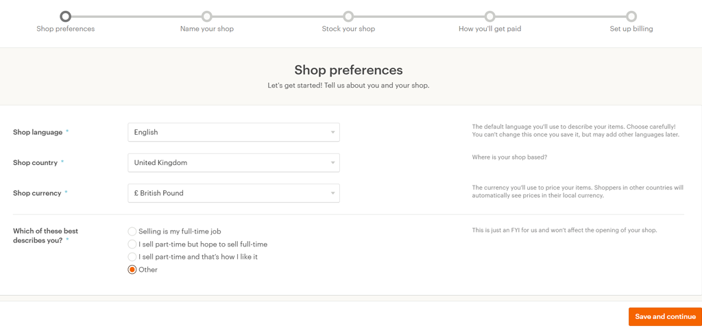 Set your shop preferences