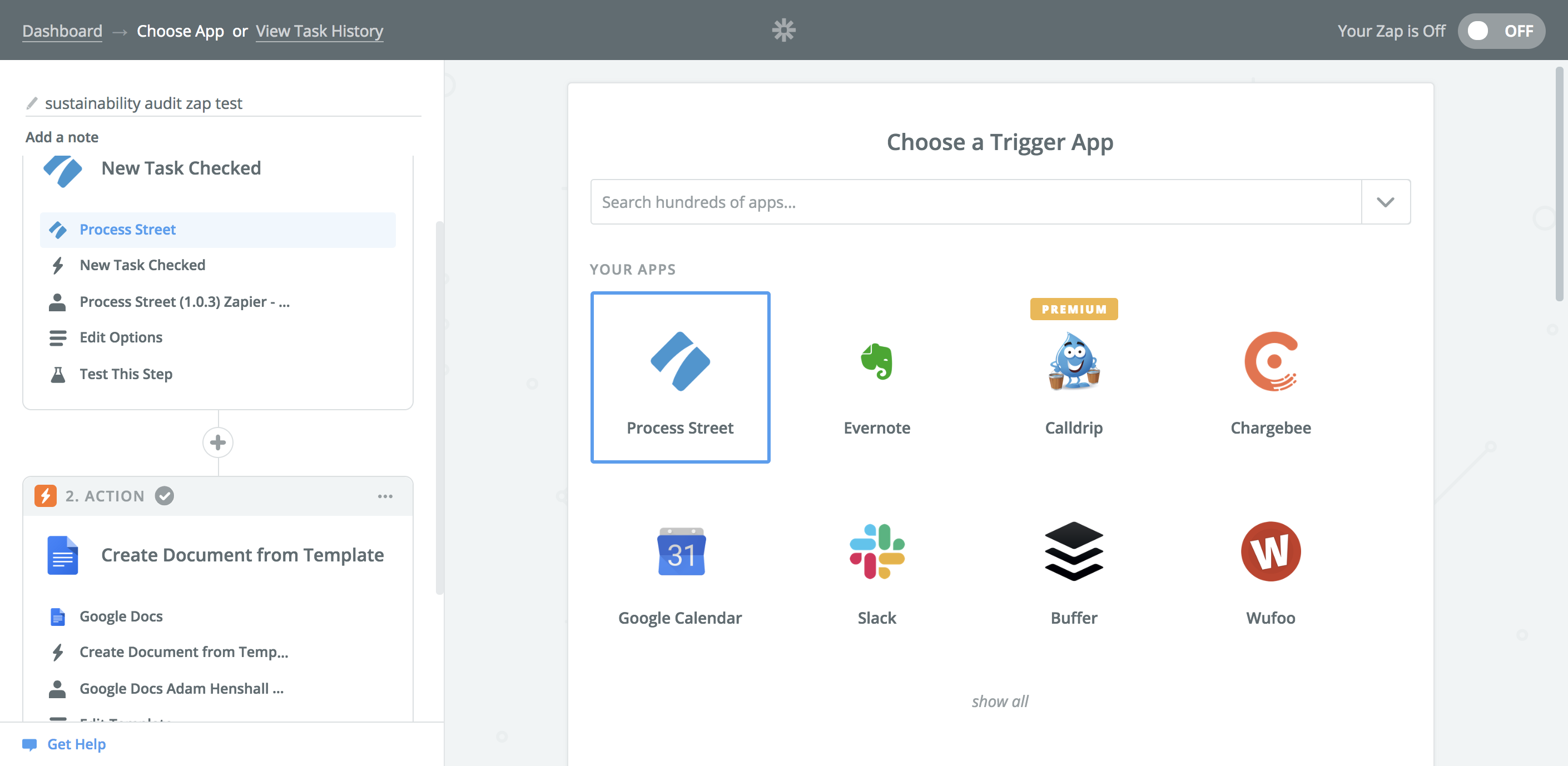 Set up a Zapier account, and click on 'Make a Zap'. Select Process Street as your Trigger application. By doing this, you will then be able to access the Hotel Sustainability Audit template from your Process Street account in the next steps.