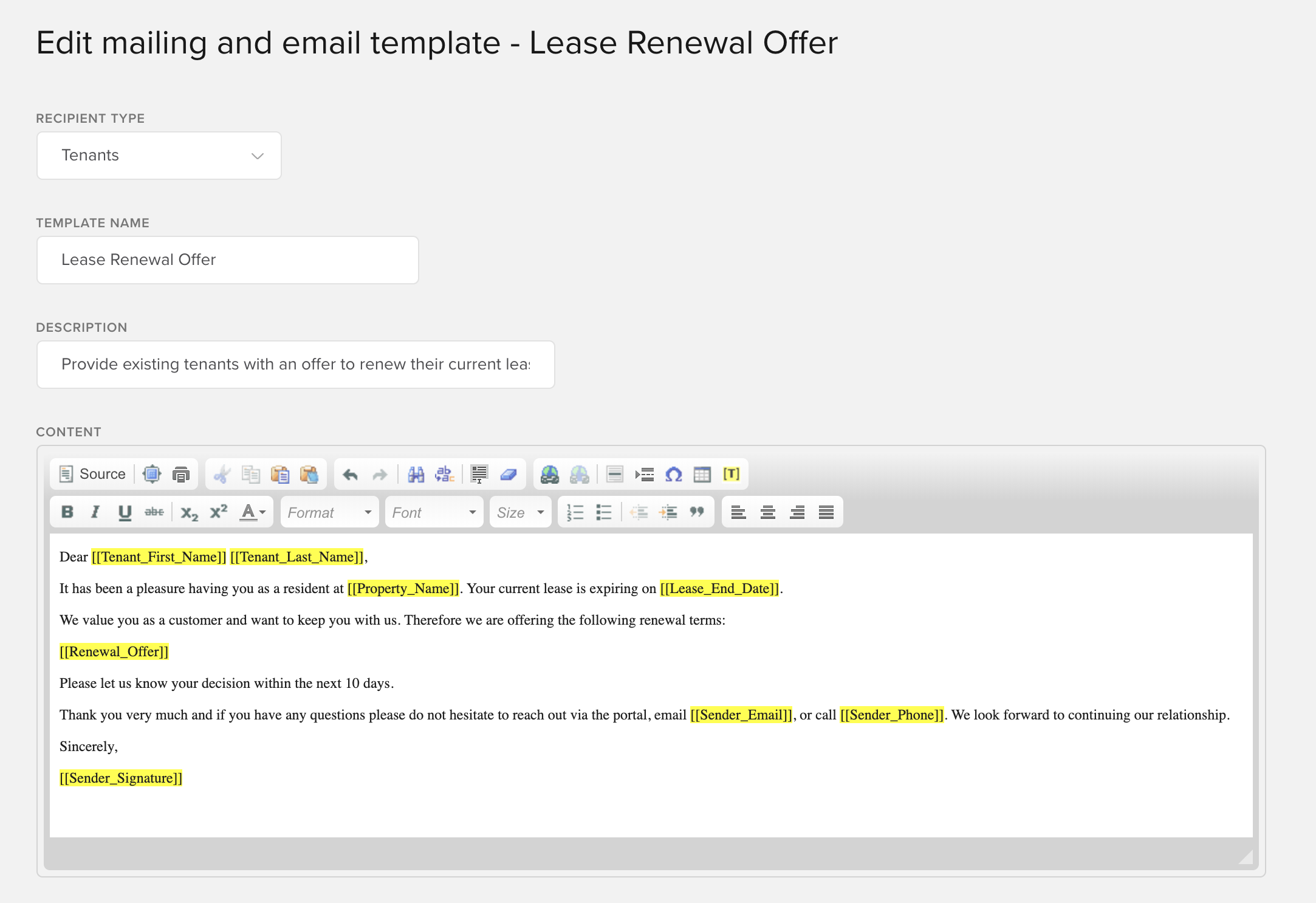 Contact tenant about lease renewal (Same Rent)