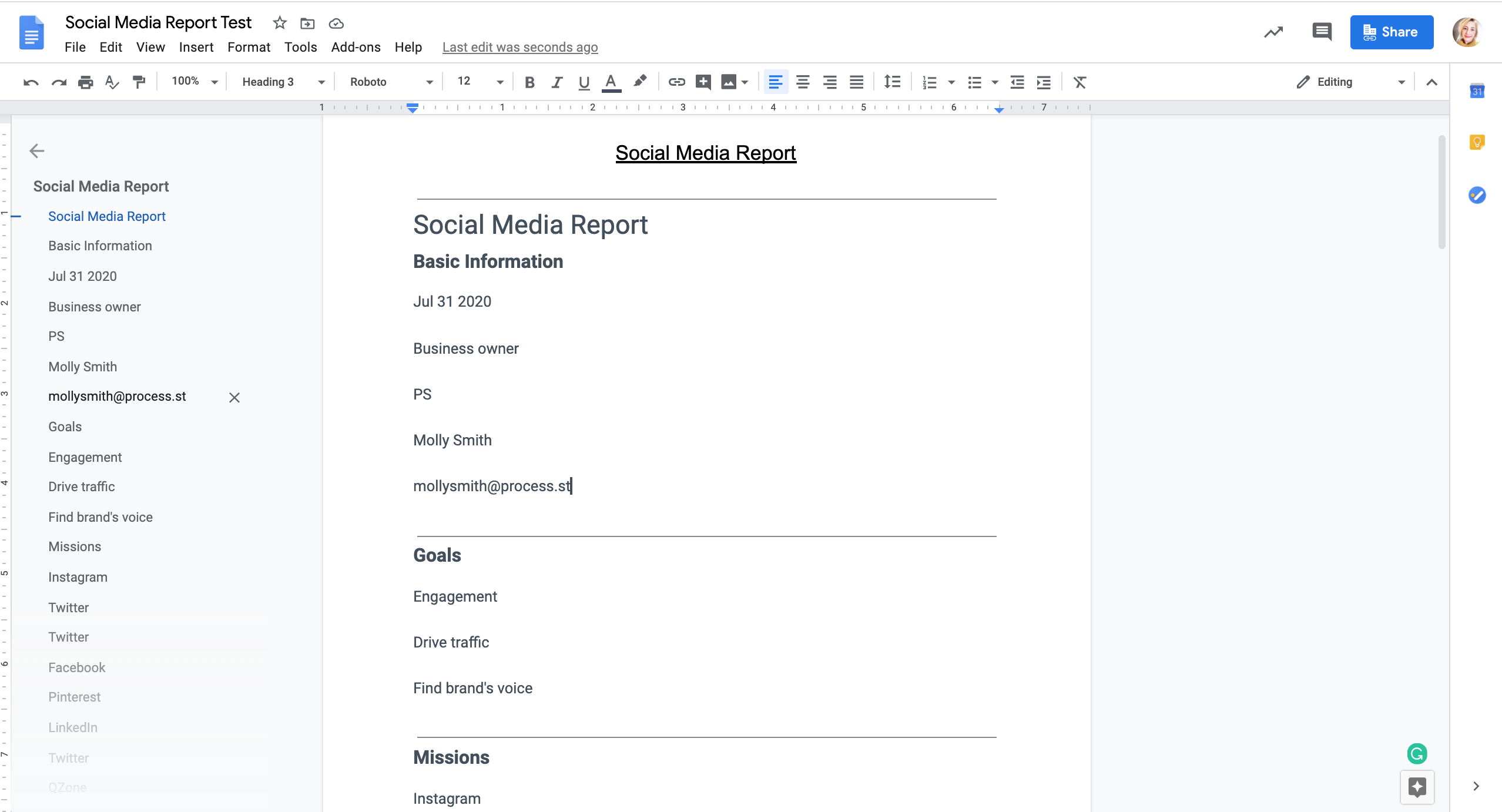 Your final report should come through to your google drive as a new document. The information in the google document report should match the information in your final report created in the Social Media Report Template.