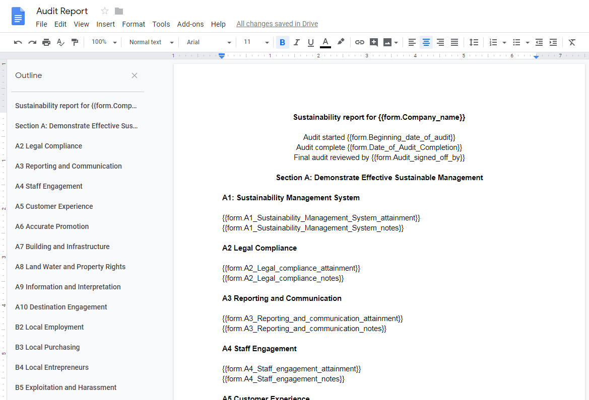Re-open a blank version of the 'Hotel Sustainability Audit' and click on the 'Edit Template' option in the right-hand side of the screen. Once you have opened the 'Edit Template' view, go to the 'Your Report' task and copy and paste the entire text into a new google document as above. Name this document and save. When the 'Zap' has been created using Zapier, all the relevant information from your final report will populate the form fields in this document.