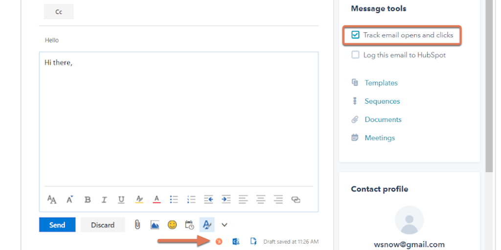 Use the HubSpot sales panel to track emails in Office 365 web or Outlook.com account.