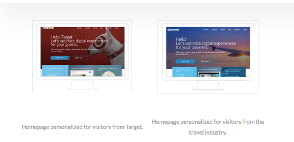 Personalized homepage examples from Optimizely.