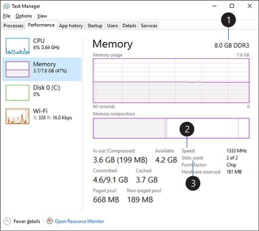 1. Type of memory (RAM) PC uses 2. RAM speed Memory slots used