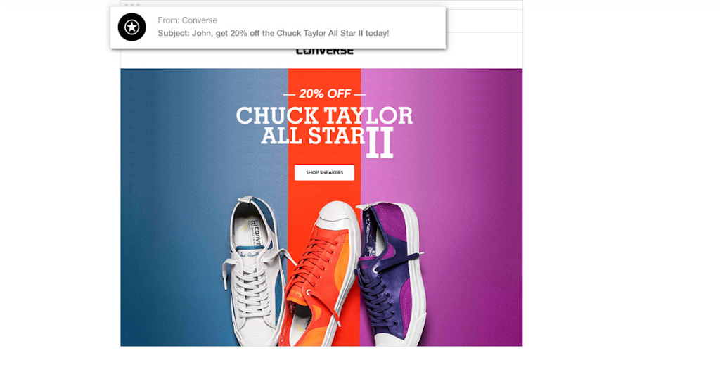 Consider the subject line example from Converse.