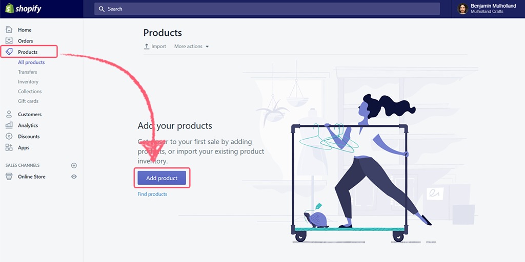 "Add a new product in the ""Products"" section"