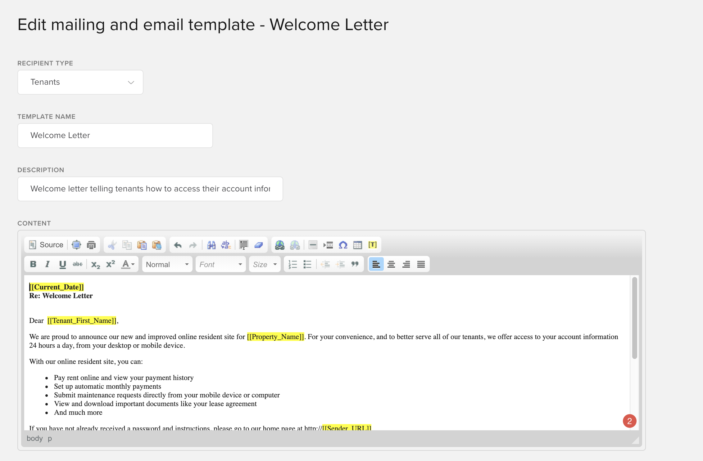 Send tenant a welcome letter
