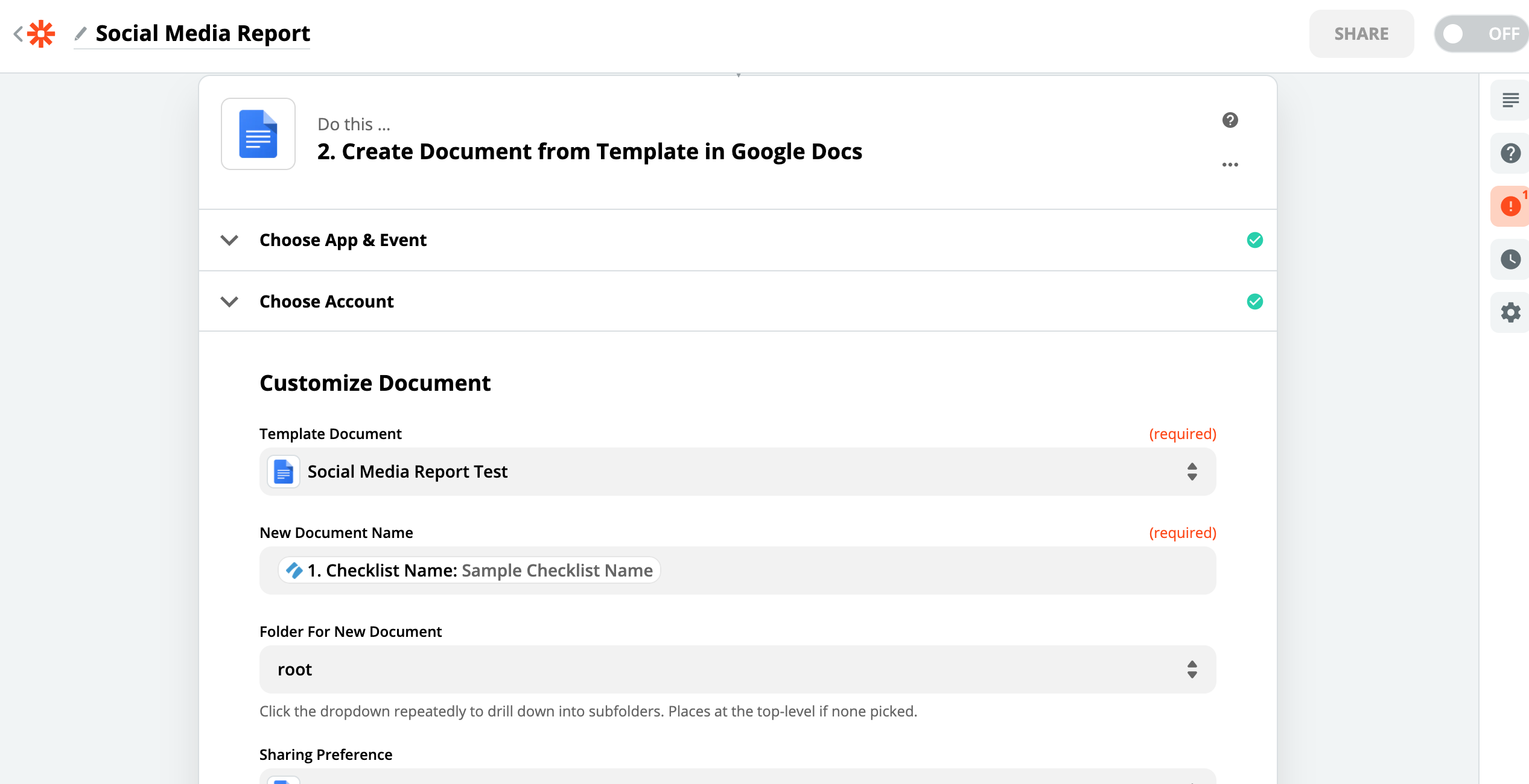 Edit the new document. Insert the fields from your completed Social Media Report Template. This will pull the information from this template and populate the linked google document.