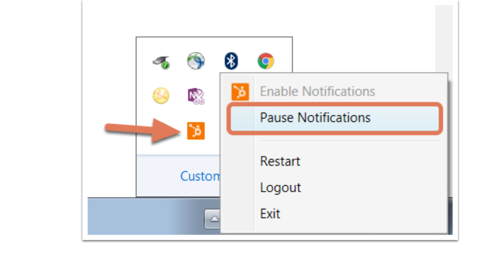 Go to your tray icon and select 'pause notifications' to turn off notifications.