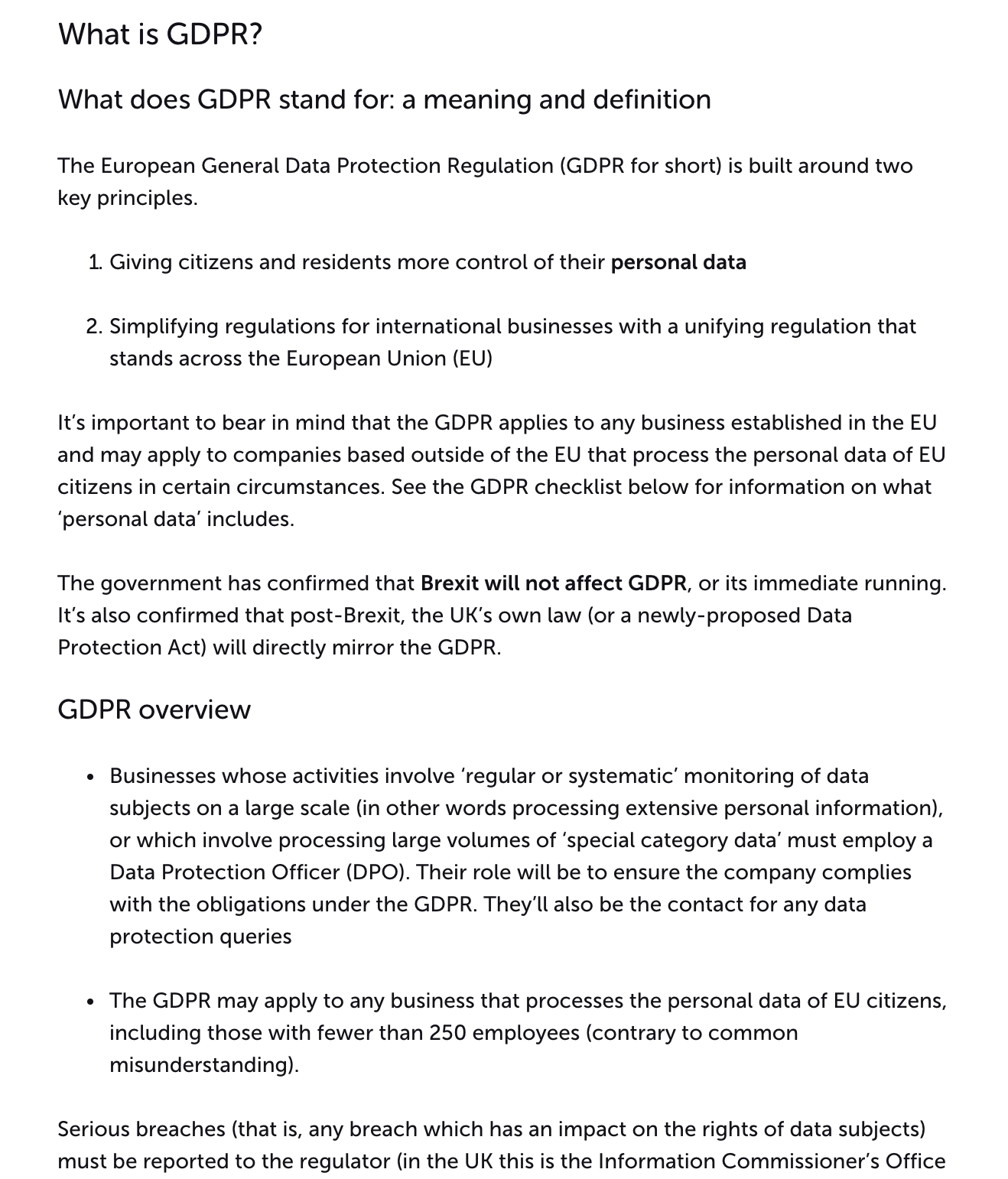 Review GDPR guidelines