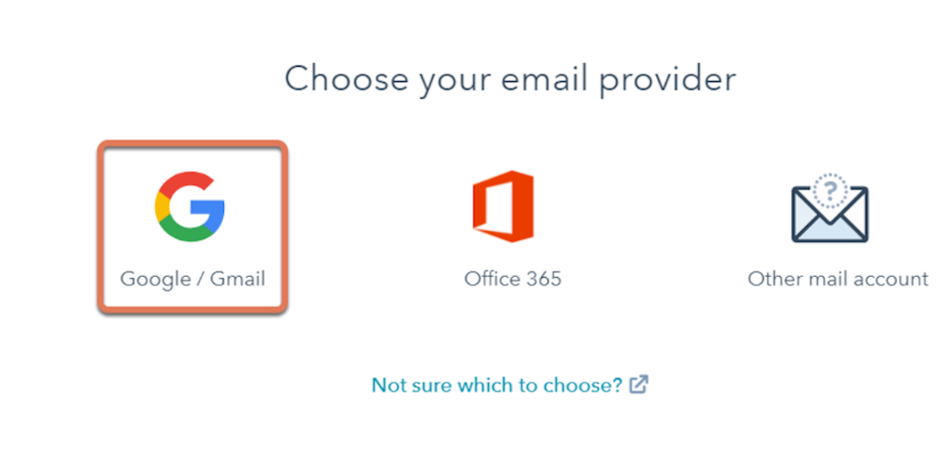 Select Google/Gmail to connect HubSpot with your Gmail inbox.