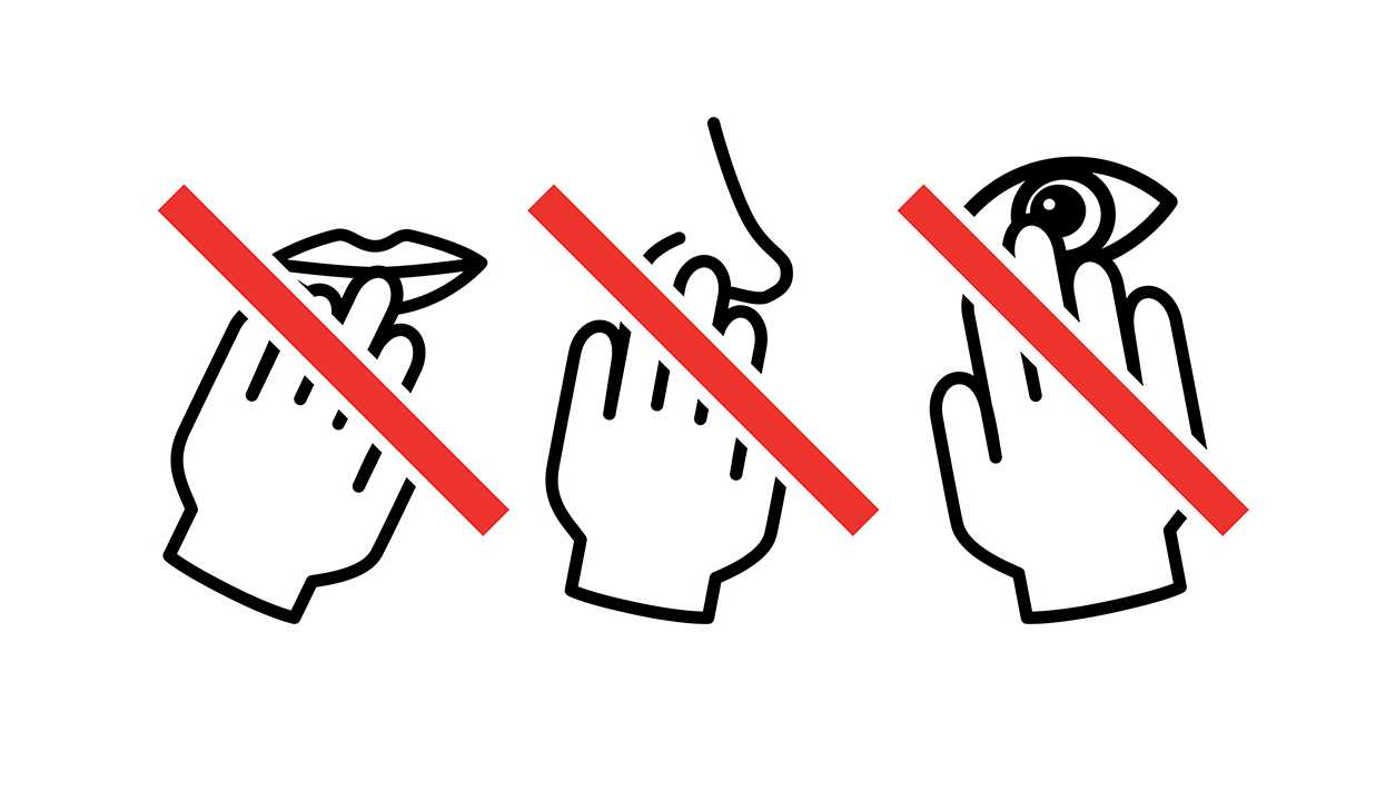 Avoiding touching eyes, nose, or mouth
