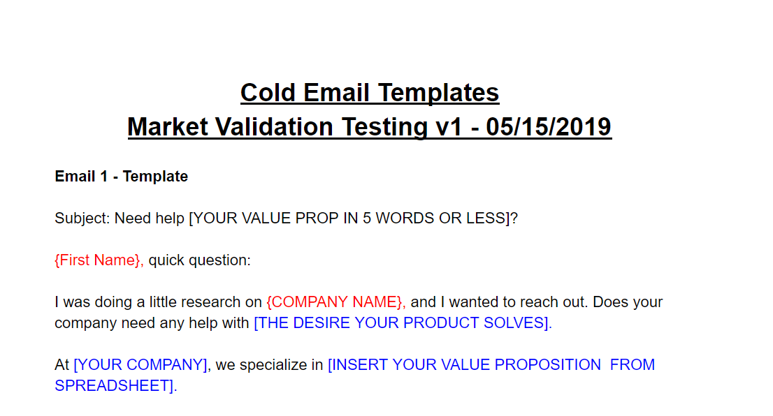 Outline the cold email process and templates