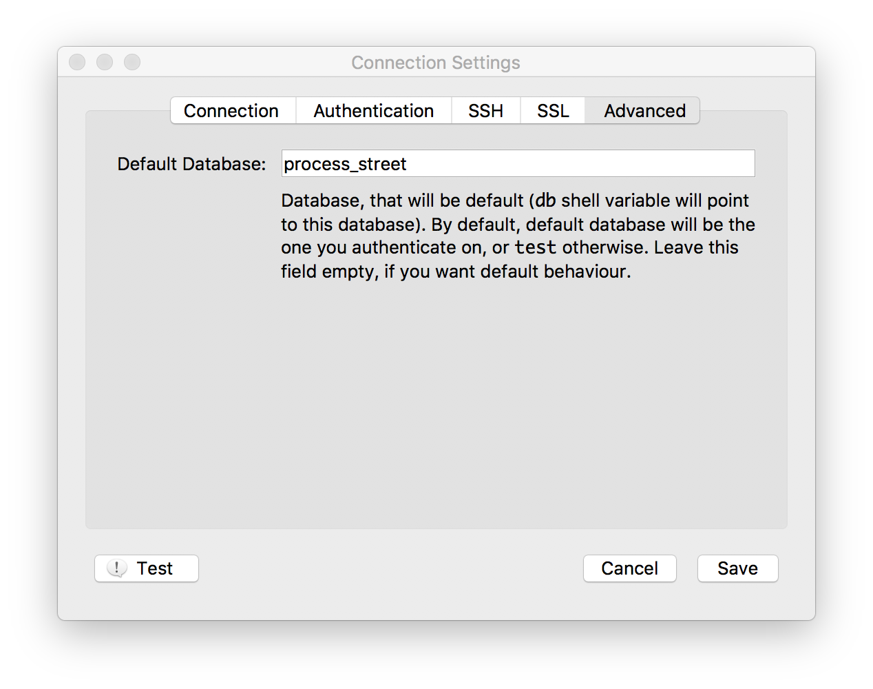 ...and set the default database like so. Then save.