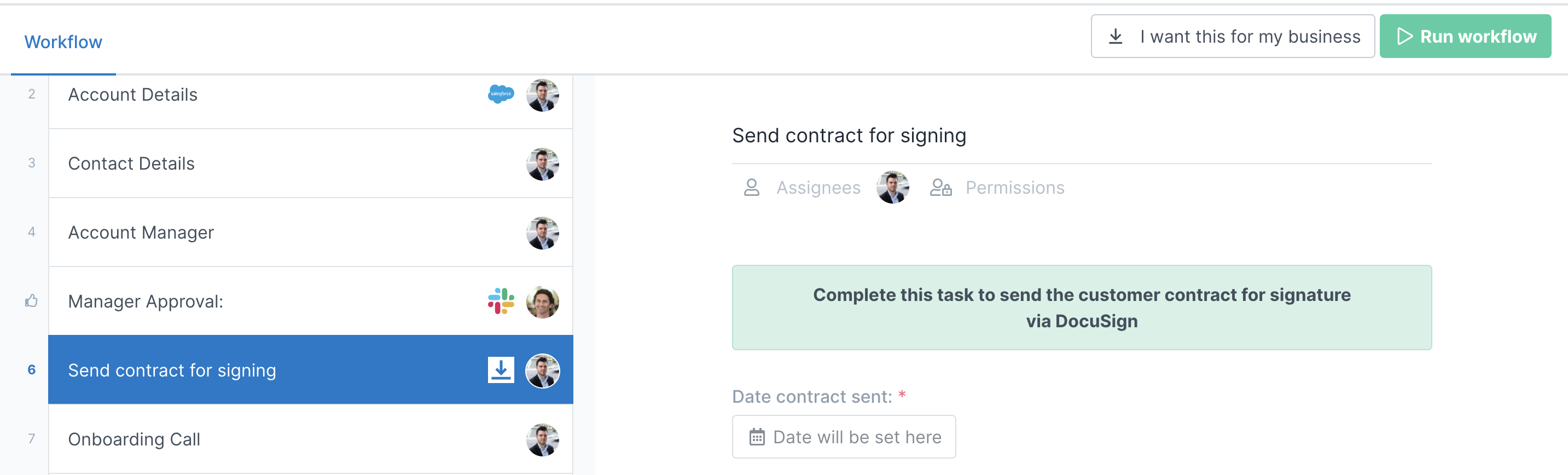 Send contract for signing with Docusign: