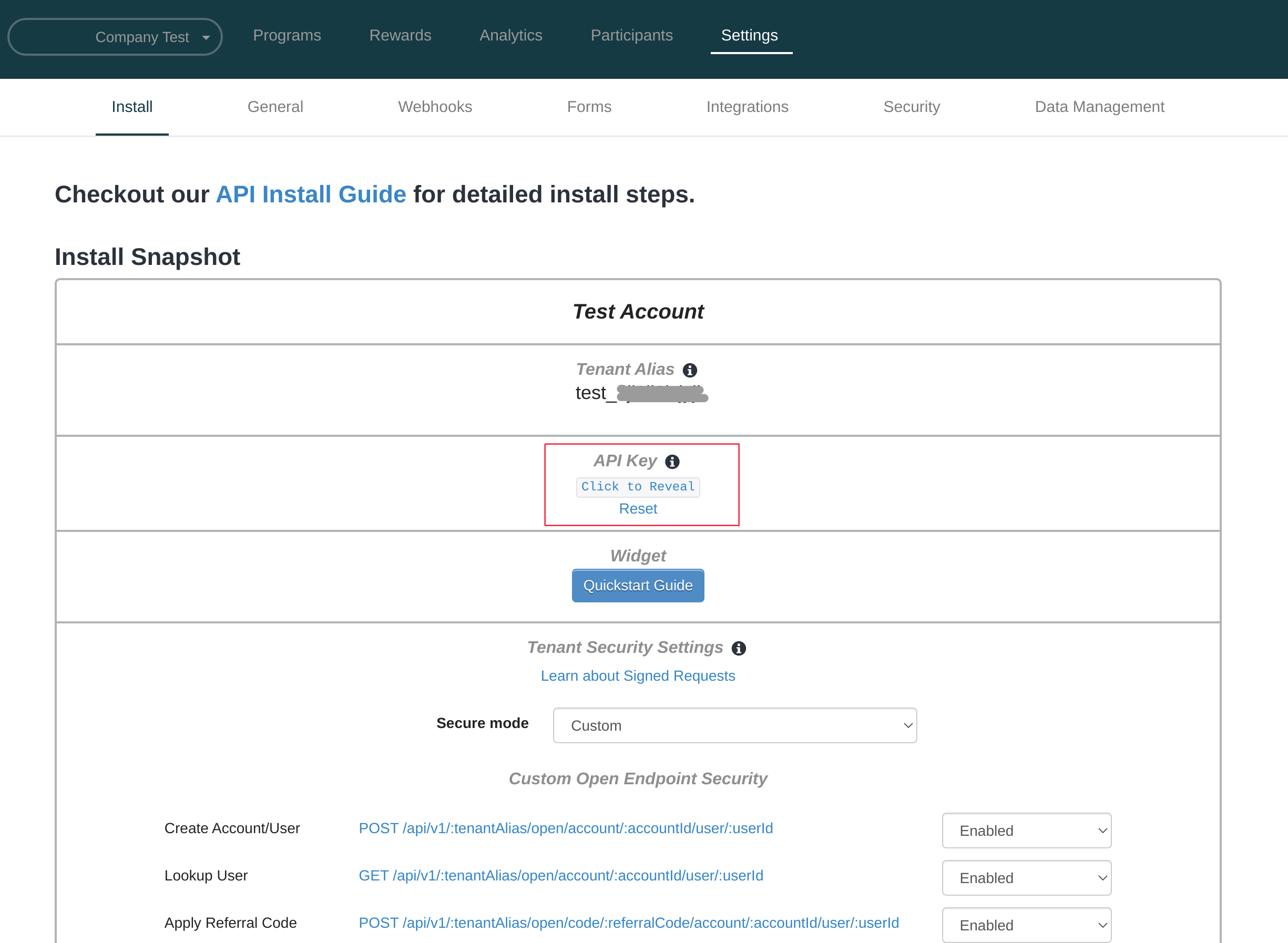 Find your Tenant API Key on the Install page of the Settings in the portal