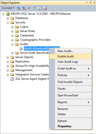 Create a new SQL Server Audit