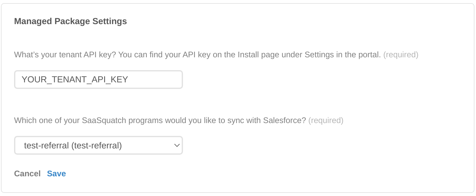 Enter your Tenant API Key and select a program for synchronization