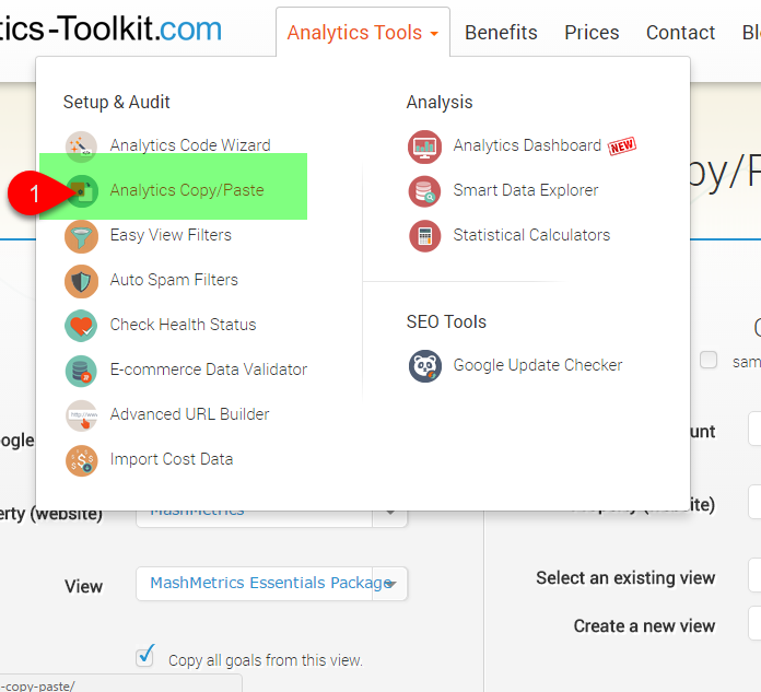 1) At the top Analytics Tools header, drop down and select Analytics Copy/Paste