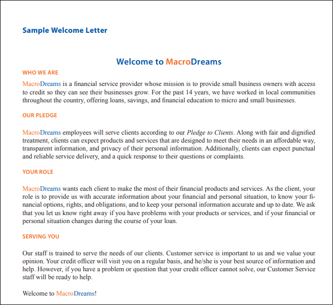 Sample welcome PDF from MacroDreams