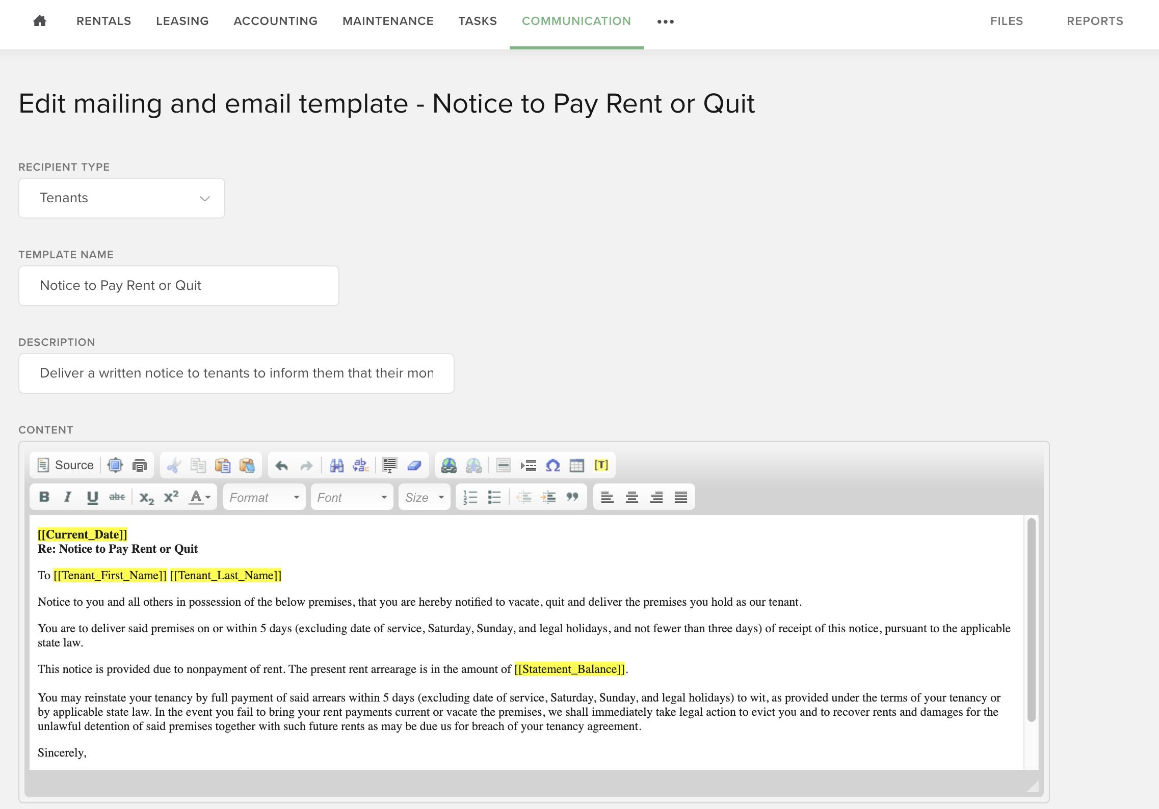 Send past due rent email notice through Buildium