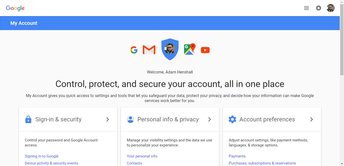 Enter your My Account screen in your Google account