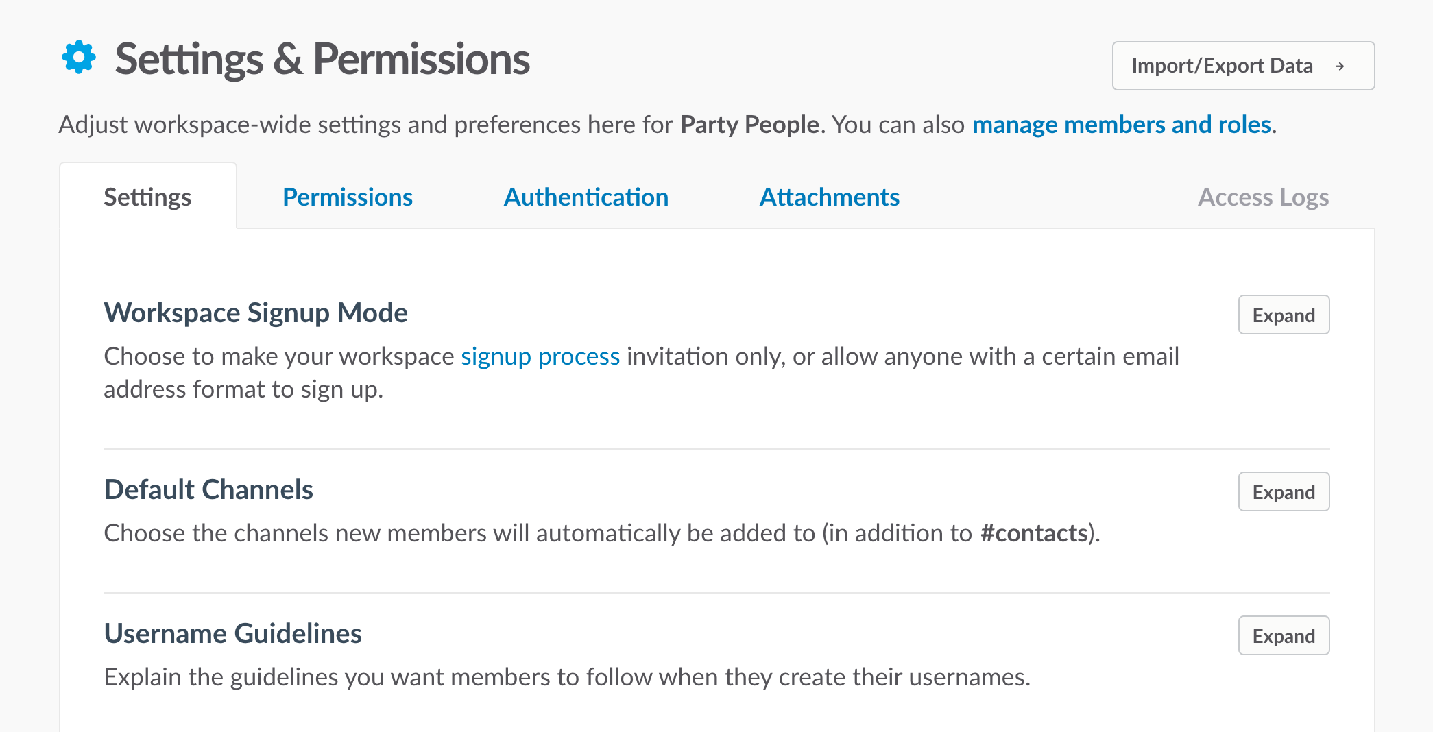 Manage workspace settings and permissions