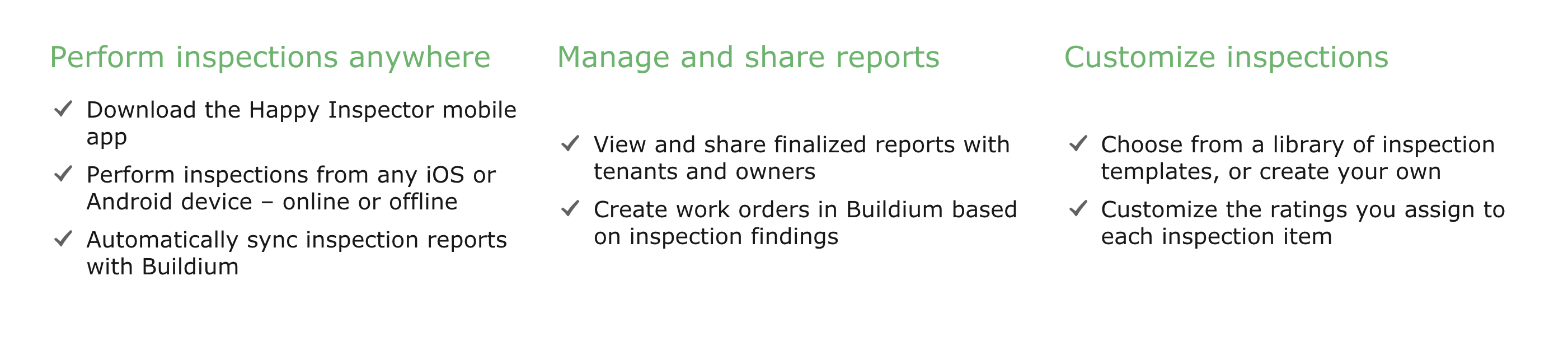Conduct the inspection using Happy Inspector