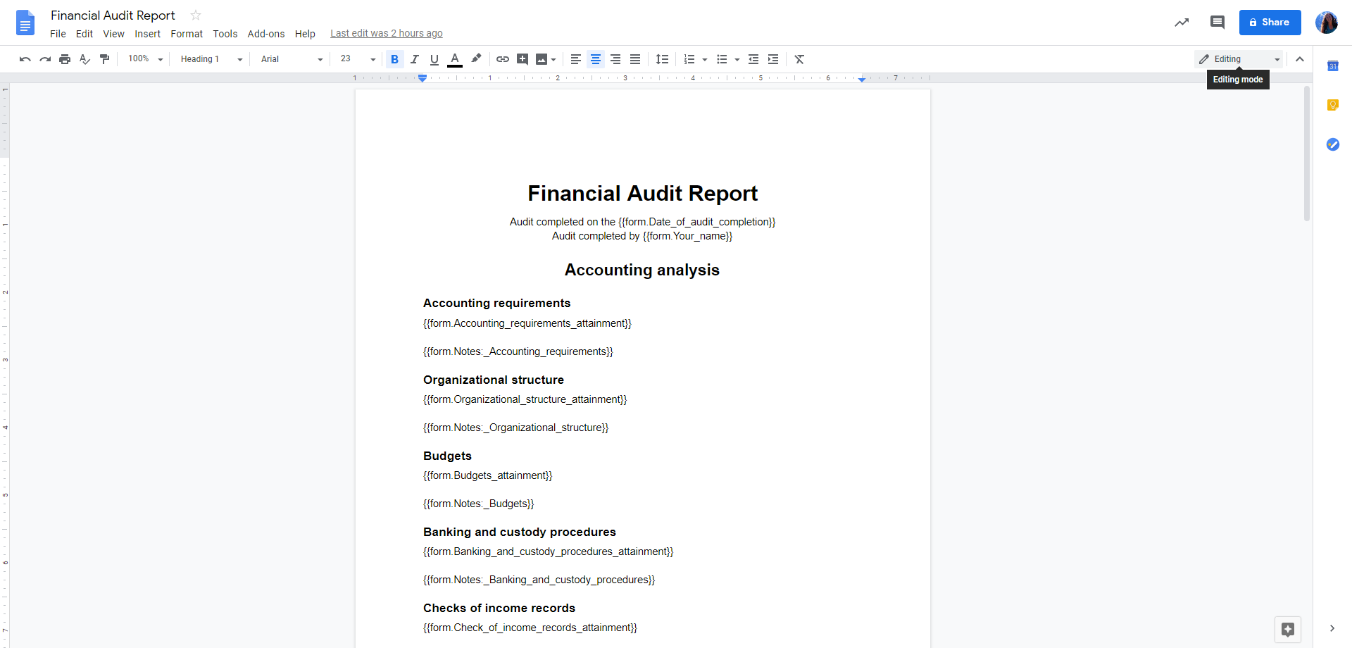 Re-open a blank version of the Finance Audit Checklist and click on the 'Edit Template' option on the screens right-hand side. Once you have opened the 'Edit Template' view, go to the 'Your Report' task and copy and paste the entire text into a new google document as above. Name this document and save. When the 'Zap' has been created using Zapier, the relevant information from your final report will populate the form fields in this document.