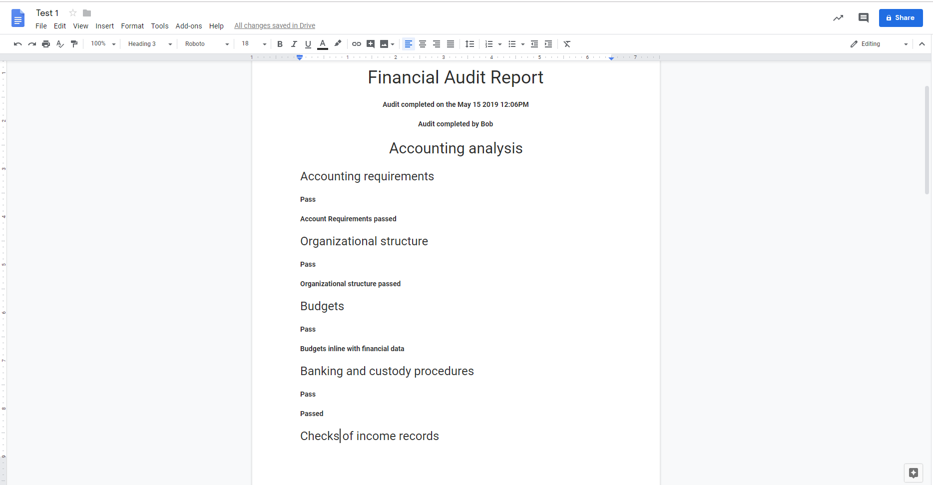 Your final report should come through to your google drive as a new document. The information in the google document report should match the information in your final report created in the Finance Audit Checklist.