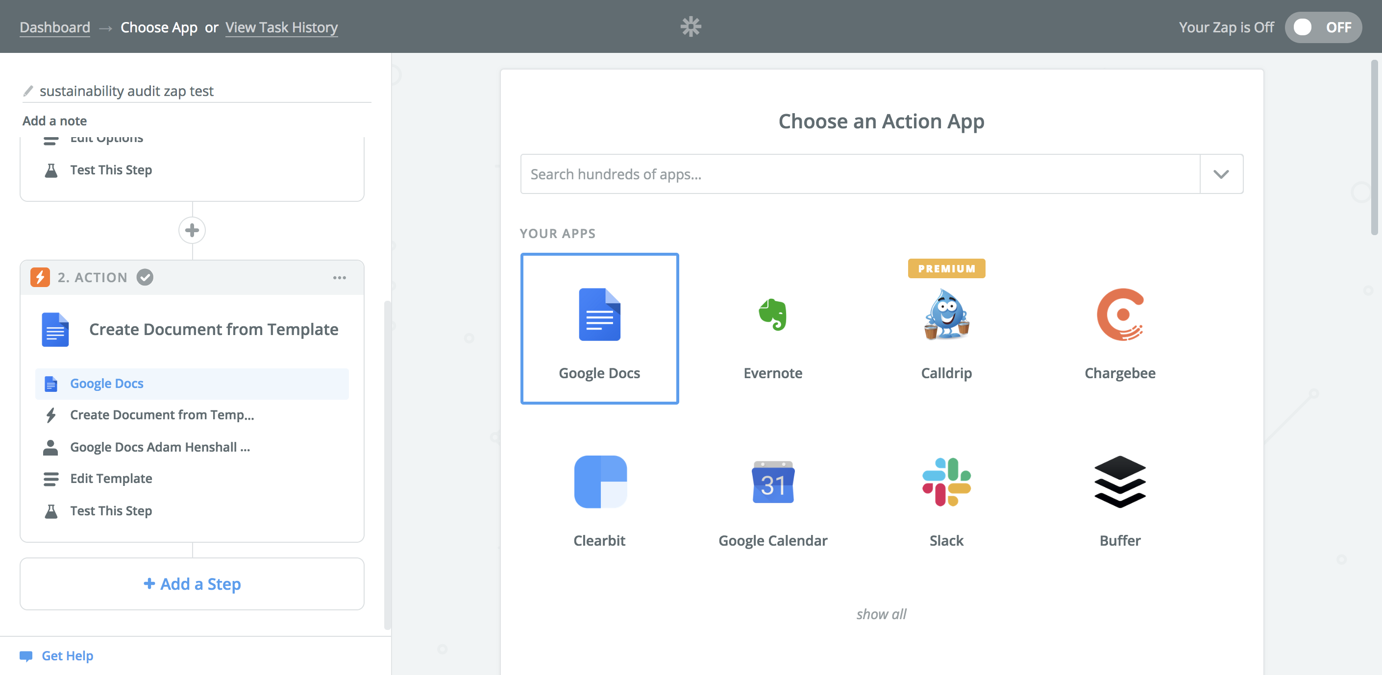Choose an appropriate action app. The Hotel Sustainability Audit report is to export as a new google document, and so Google Documents is our action application.
