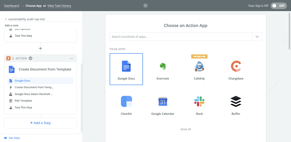 Choose an appropriate action app. The Meeting Minutes Template report is to be exported as a new google document, and so Google Documents is our action application.