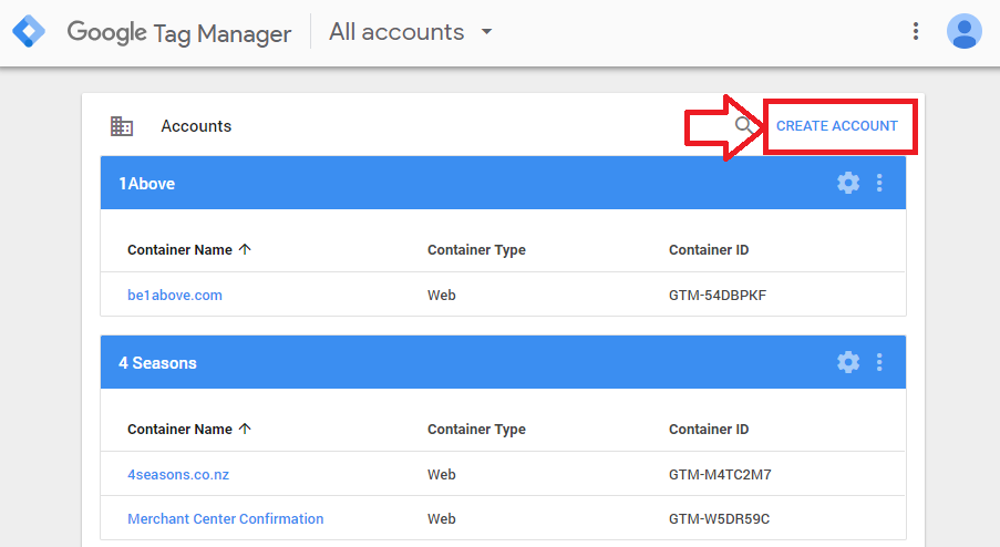 Step 2 - Login to Google Tag Manager & Create New Account