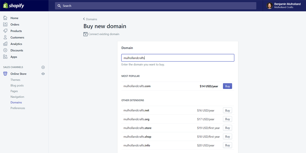 Choose a new or existing domain