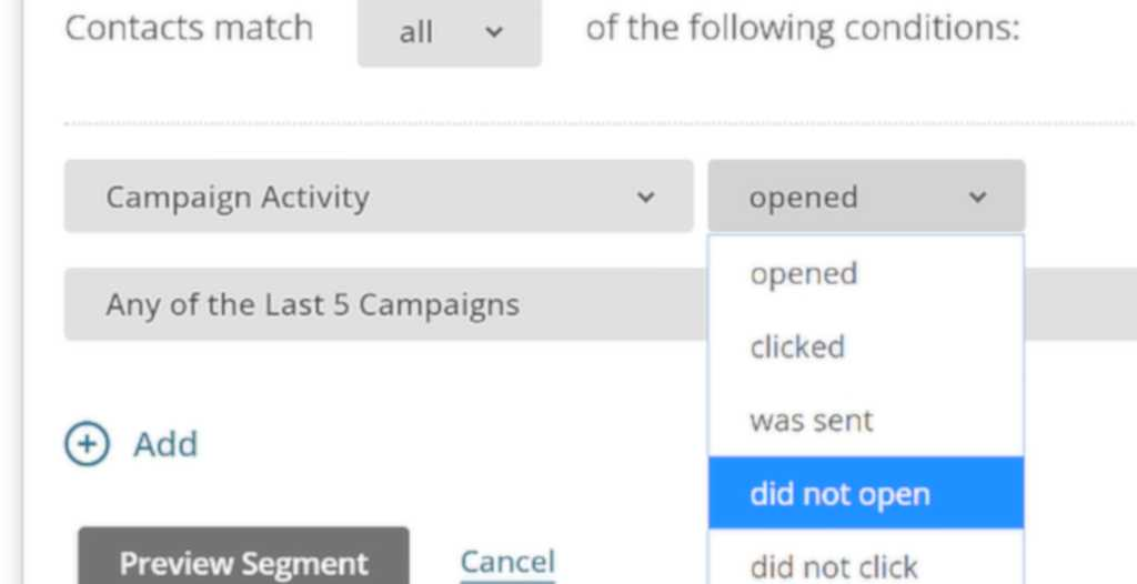 Set your first condition in MailChimp.