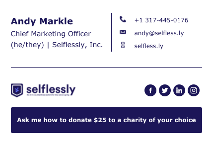 Figure 1: Selflessly email signature template